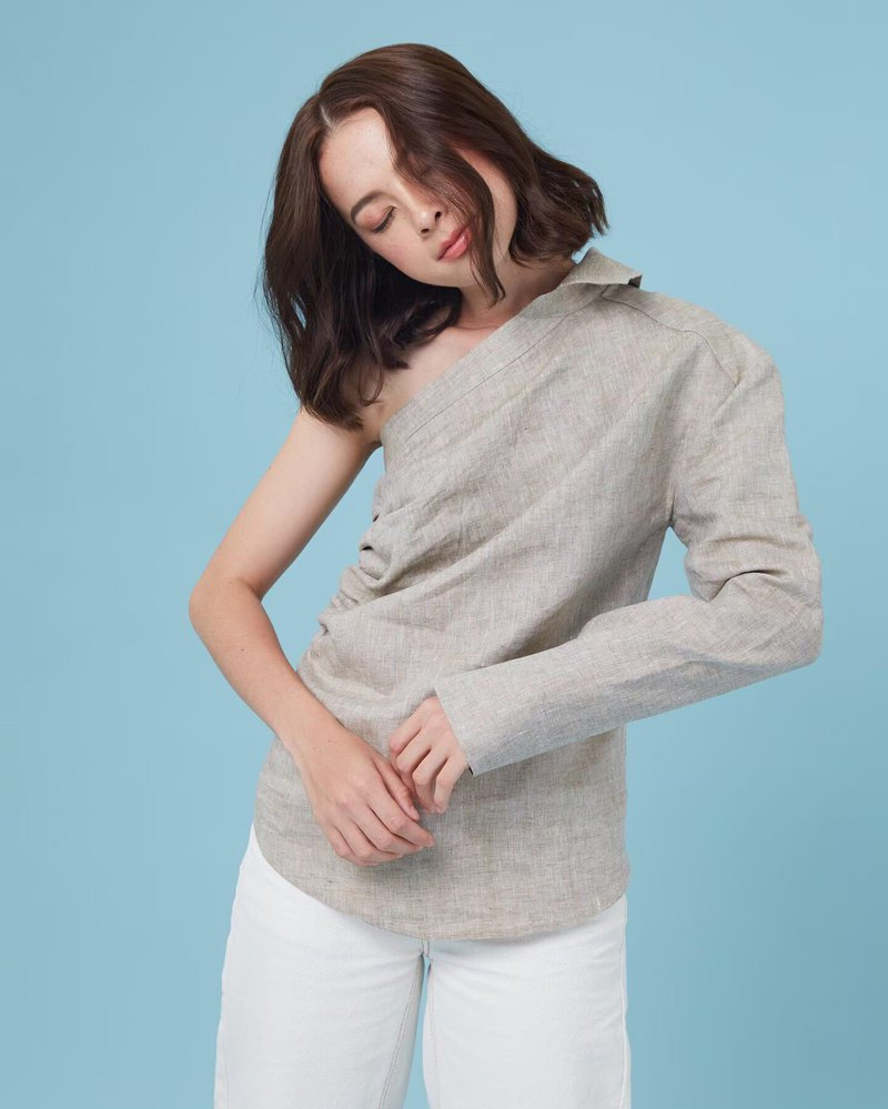 One Shoulder Shirt (coffee)