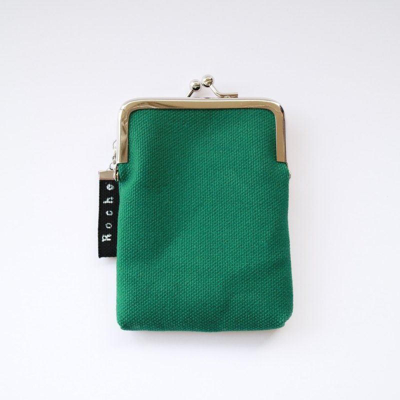 Coin case / pass case of canvas and hatch Forest green
