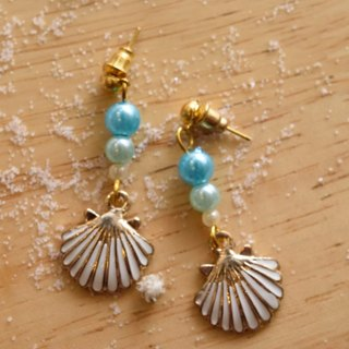 Cute & Beauty Adorable Blue Sea Shell Dangle Earrings