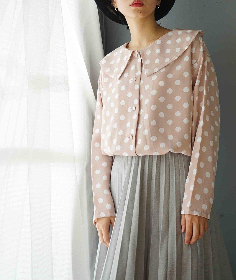 尋寶古著-甜美粉紅白點復古領形襯衫