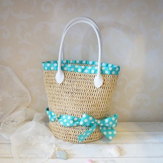 Hand-woven - summer tour water jade little bow decorated with water bucket bag / handbag (including inside) ~