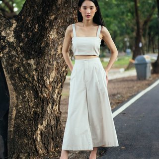 (SIZE M) IVORY COTTON LINEN TUBE CROP TOP WITH STRAP AND BACK SHIRRING