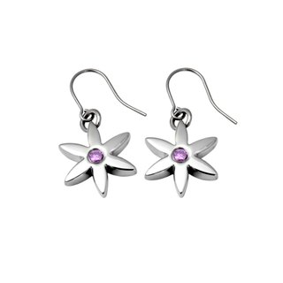 (M) - Crystal Edition - mysterious powder purple pure titanium earrings a pair