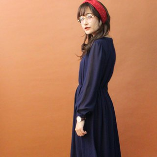 Vintage Autumn and Winter Plain Solid Color Dark Blue Simple Long Sleeve Vintage Dress Vintage Dress