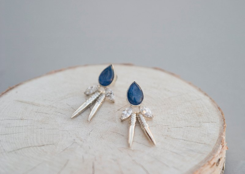 Kyanite + Double Zircons Earrings - Handmade-Silver-Silver Ear Stud-Clip on