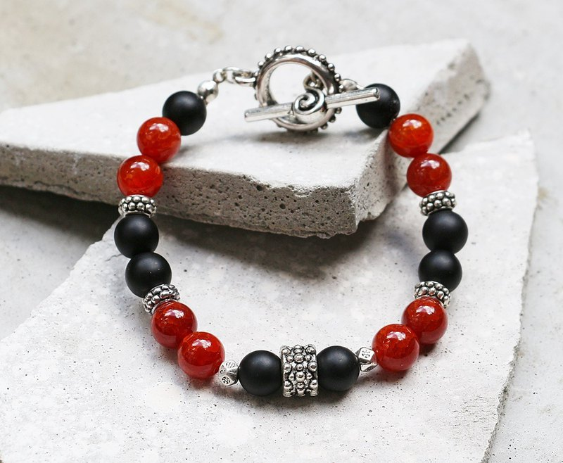 Jianyi Guardian Frosted Black Agate x Red Agate Stone Bracelet Natural Stone Minimalistic Geometry Personalization