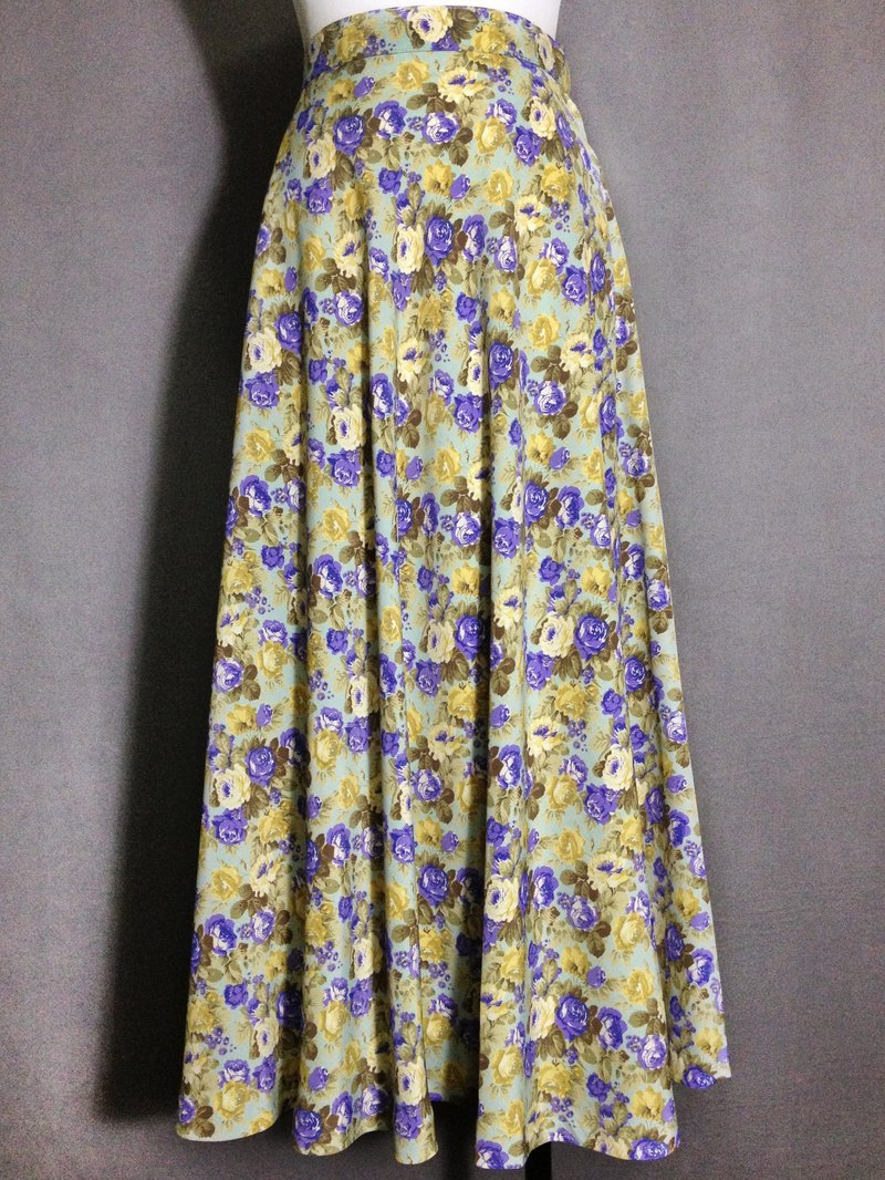 Ping pong ancient [ancient skirt / mint blue flowers skirt skirt] foreign bring back VINTAGE
