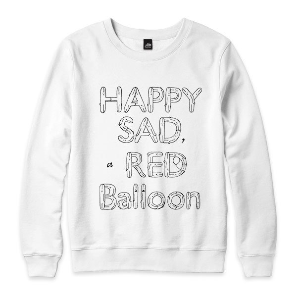 HAPPY SAD a RED Balloon - white - neutral version University T