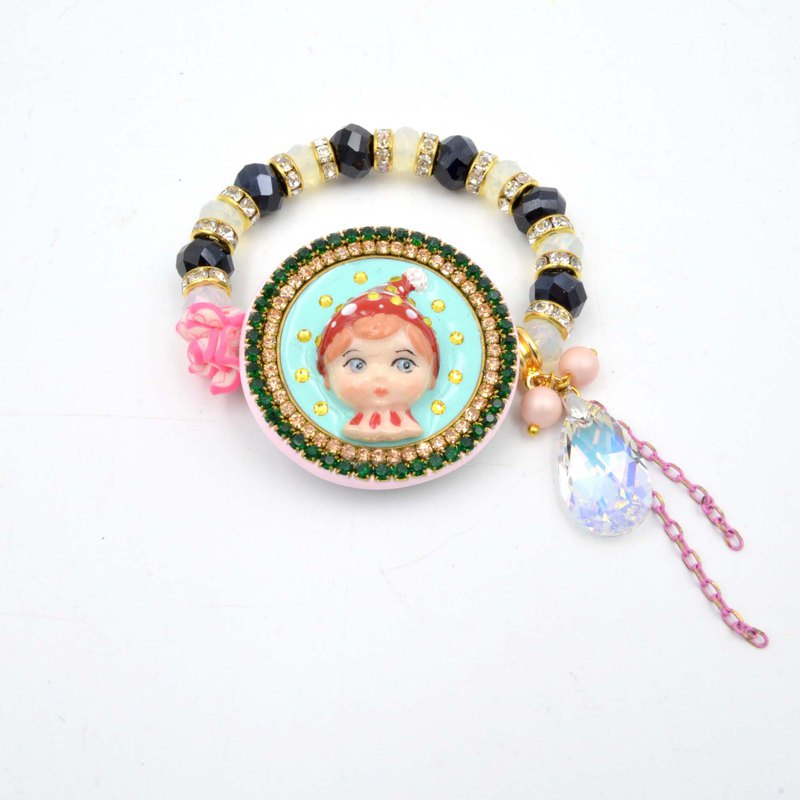 TIMBEE LO red polka dot goblin doll crystal lace semi-precious stone beaded rubber band bracelet