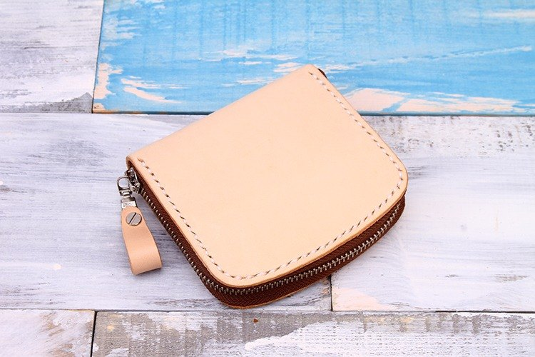 [Tangent Pie] Pure Handmade Leather Simple Zip Coin Purse / Card Case / Business Card Wallet Primary Color