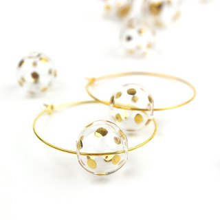 GIRO GOLD DOTS - Gold-paint polka dots bubbles earrings