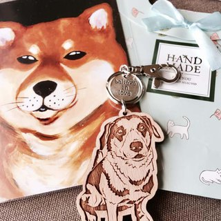 Lectra duck ♣ wood dog ♣ (custom) exclusive boutique key ring / necklace [dog articles] \ plus a dog cat cat postcard