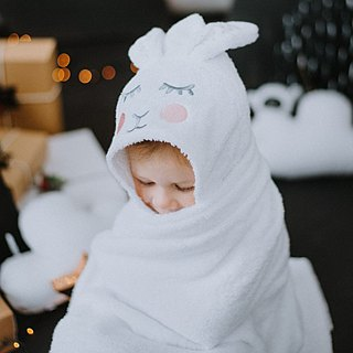 Hooded baby towel white bunny