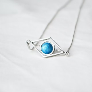 blue rhombus necklace -- silver