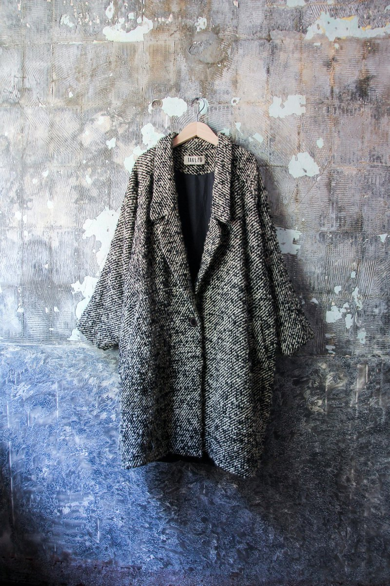 袅袅 department store - Vintage black and white interweaving coat jacket retro