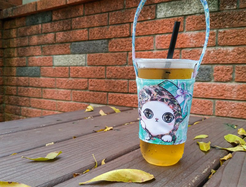 A good helper for summer heat ~ Double-sided environmentally-friendly drink cup sets-super cute gift cat