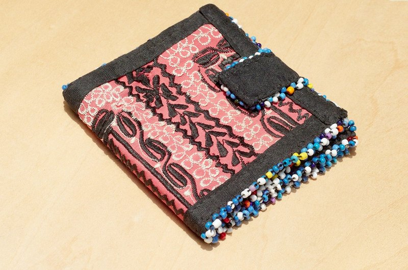 Limited edition handmade embroidery ancient cloth wallet / national wind short clip / embroidery short clip / hand embroidery wallet / handbag / embroidery bag - desert flowers old cloth embroidery totem