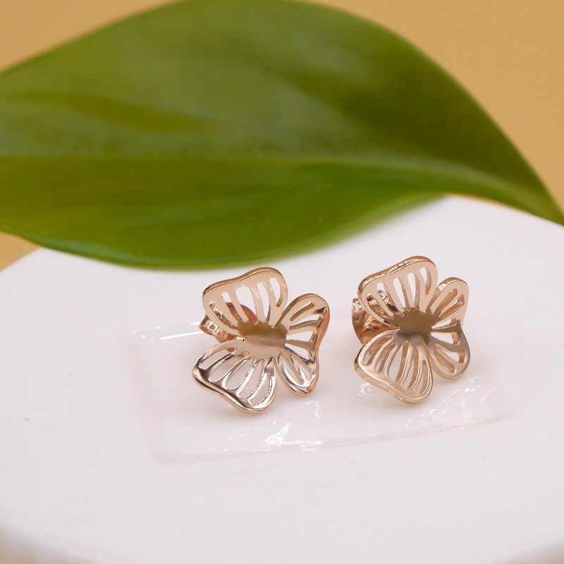 Handmade little Flower Earring - Pink gold plated on brass, birthday gifts