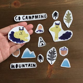 Camping transparent sticker bag in the mountains