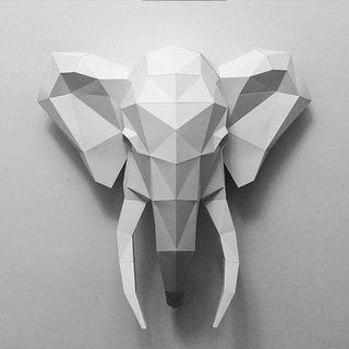 3D Paper Model _ Minimalist Elephant Mural _DIY Kits_ Handmade combination