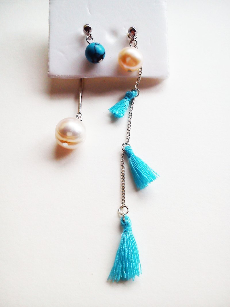 Can be split hand-made long 13cm freshwater pearl with turquoise own design earrings _925 white ear ear to force _Long Vocation series