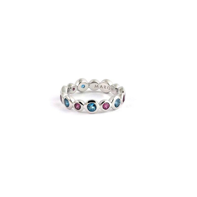 Urban Round Eternity Ring with London Blue Topaz and Rhodolite