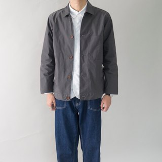 Early autumn everyday with French tooling jacket minimalist pocket shirt coat gray