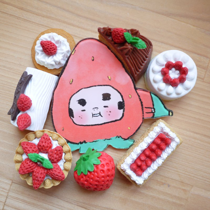 Acrylic pin / strawberry season old man