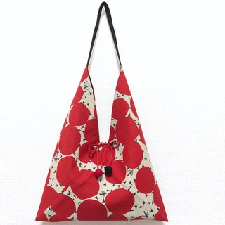 Japanese-style skull-shaped side bag / medium size / red circle + black dot