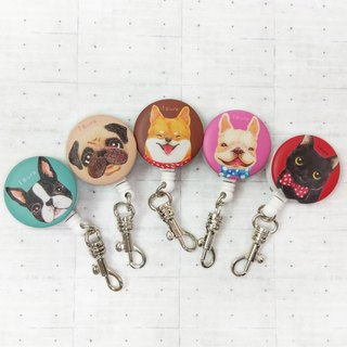i good clip telescopic certificate ticket holder - illustration series Boston Bago Shiba Inu fight black cat