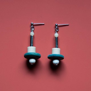 Space Age - Vintage Teal and Ivory Pendant Light Earrings