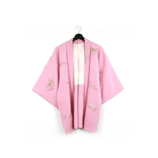 Back to Green-Japan brought back feather woven pink gold thread embroidery / vintage kimono