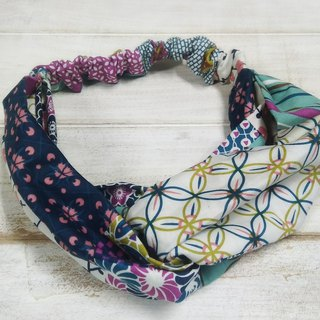 Colorful pattern stitching double loop hair band