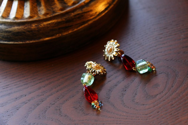 old flower earrings