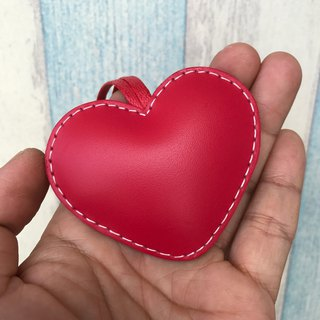 Taiwan MIT red cute love handmade sewn leather charm small size
