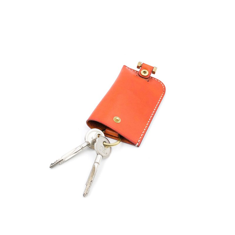 Hand vegetable-tanned leather-hand-stitched bell key case