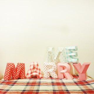 Wedding Decoration / wedding props / MARRY ME / three-dimensional character / small section of red and blue lines