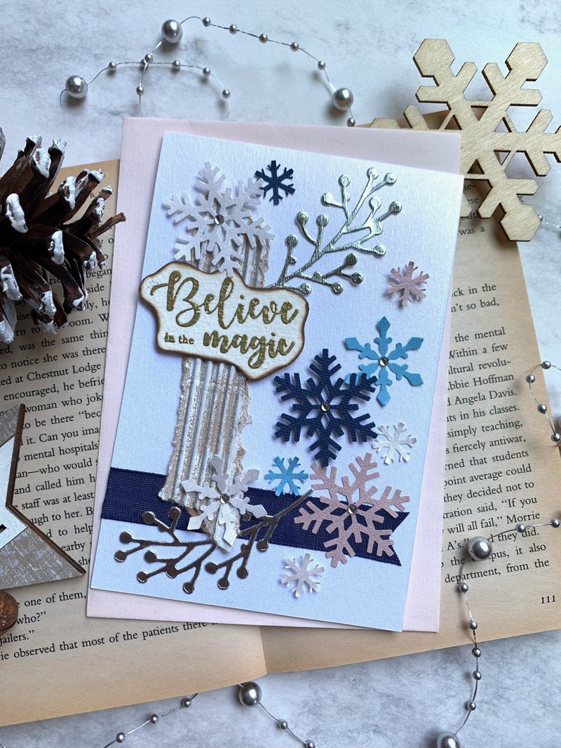 Christmas Card_ Dark Blue Snowflakes