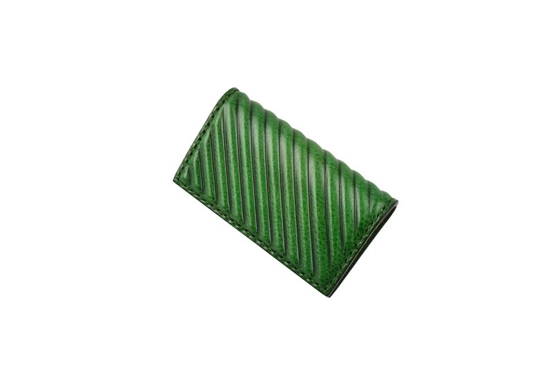 pipilala Solid Leather Business Card Holder-Classic Twill (Forest Green)