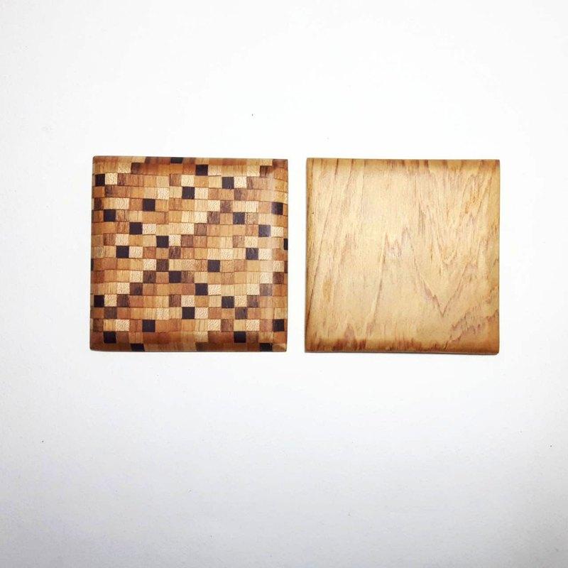 水波紋寄木細工/檜木 雙面杯墊