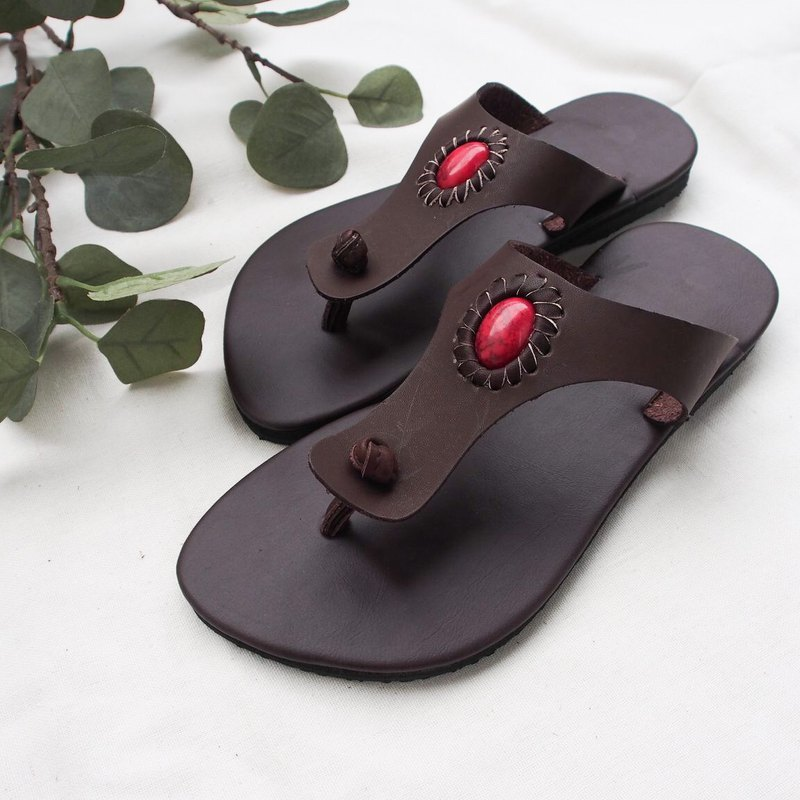 Natural Summer Boho Shoes Leather Flip Flop bohemian sandal beach summer style