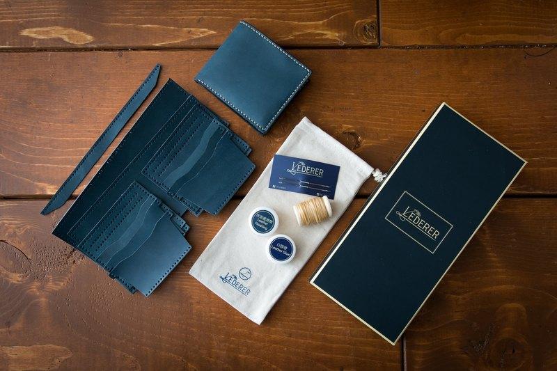情侶套裝 6卡短夾2個。手縫皮革材料包。SPS003
