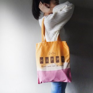 Gold yellow pink purple - Canvas hand dyed Tote bag back