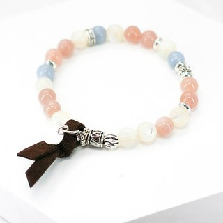 Spring sea color natural stone silver bracelet │ orange blue series birthday sun stone angel stone Valentine's Day