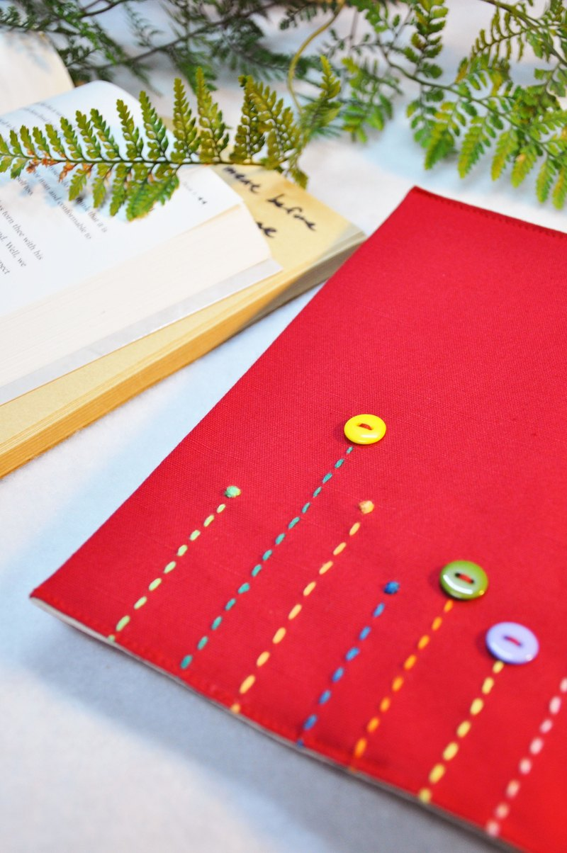 Hand-made book clothing notebook [rain song] festive red canvas section (A5)