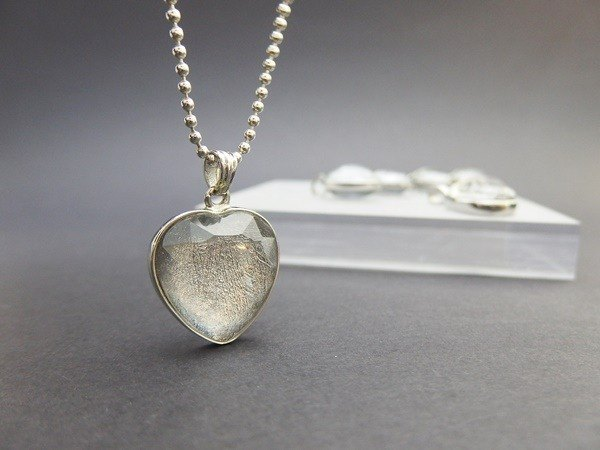 """Eternal kindle"" - Day heart-shaped sterling silver pendant Iron meteorites"