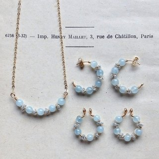 Goody Bag/14kgf Aquamarine and Vintage Beads Necklace and Hoop Earrings Set