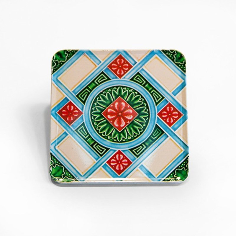 Checkered flower Taiwan impression [old tile magnet coaster]