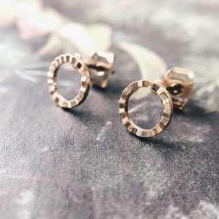 Small wave circle - gold earrings earrings (pair) [changeable ear clips]