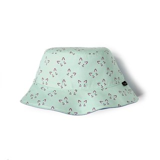 Mint green cat face double-sided fisherman hat